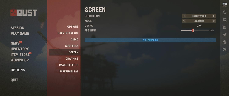 Улучшена страница настроек экрана Rust